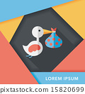 bird and baby flat icon with long shadow,eps10 15820699