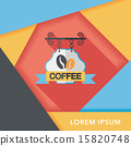 Coffee shop signs flat icon with long shadow,eps10 15820748