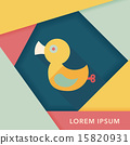 Duck toy flat icon with long shadow,eps 10 15820931