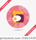Ham toast flat icon with long shadow,eps10 15821439