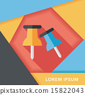 push pin flat icon with long shadow,eps10 15822043
