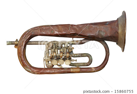 old broken trumpet - isolated 15860755
