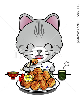 Cat eating fried food 15861115