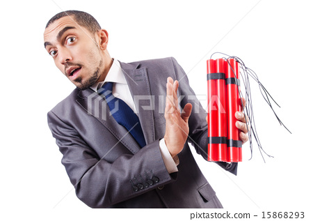 Businessman with dynamite isolated on white 15868293