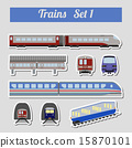 Train icon set. Subway, monorail transport. 15870101
