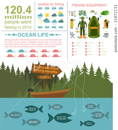 Stock Illustration: Fishing infographic elements, fishing benefits