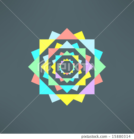 Vector abstract geometric mandala in modern flat design. Mosaic color print  15880314