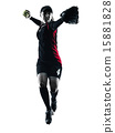 woman playing softball players silhouette isolated 15881828
