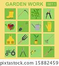 Garden work icon set. Working tools 15882459