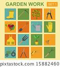 Garden work icon set. Working tools 15882460