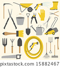 Garden work icon set. Working tools 15882467