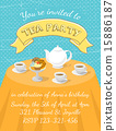 Fancy Tea Party Invitation Template in Flat Style 15886187