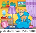 Room with dog on armchair 15892088