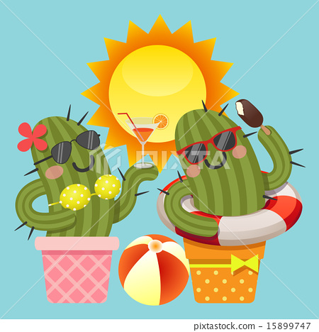 the loving couple of cactus with summer theme 15899747