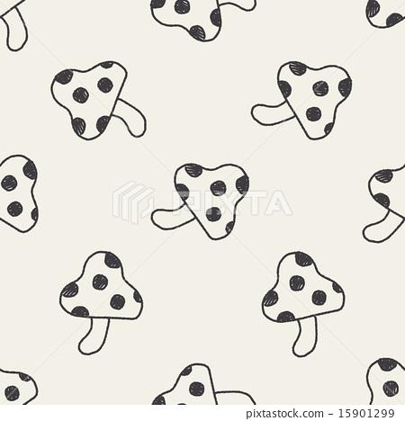 mushroom doodle drawing seamless pattern b 15901299