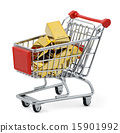 Gold bar in shopping cart 15901992
