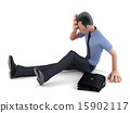 Depressed businessman sitting on the floor.  15902117