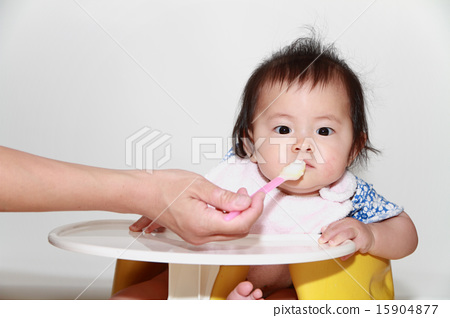 이유식을 먹는 아기 (0 세아) 15904877