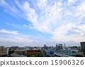 ชุด 05 ของท้องฟ้าสีฟ้าและเมฆขนและเส้น Tokyo Metro Chiyoda 15906326