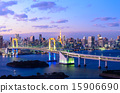 Evening View of Tokyo Skyline and Rainbow Bridge 15906690