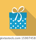 Gift Box Flat Icon with Long Shadow, Vector Illustration 15907458