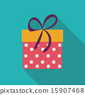 Gift Box Flat Icon with Long Shadow, Vector Illustration 15907468