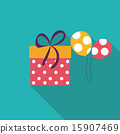 Gift Box Flat Icon with Long Shadow, Vector Illustration 15907469