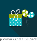 Gift Box Flat Icon with Long Shadow, Vector Illustration 15907470