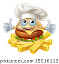 Cartoon chef burger and fries 15916113
