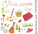Picnic objects for romantic summer date 15916266