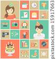 Modern Flat Kids Birthday Party Icons 15917663
