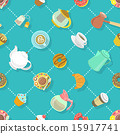 Flat City Cafe Seamless Pattern with Tea and Coffe 15917741