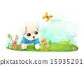 목초지, 풀밭, 강아지 15935291