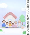 家庭3代Kokeshi 15938848