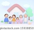 家庭3代Kokeshi 15938850