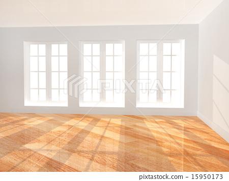 Empty room with parquet floor 15950173