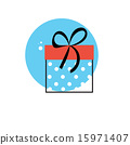Line Icon with Flat Graphics Element of Gift Box Vector Illustra 15971407