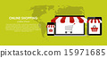 Online Shopping Vector Illustration. Flat Computing Background 15971685