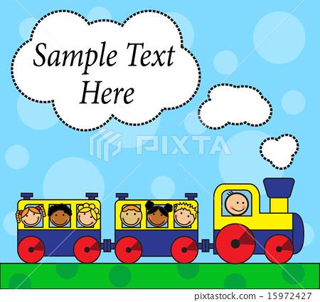 Cartoon locomotive and children traveling 15972427