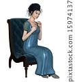 Regency Woman in Blue Dress Sitting on a Chair 15974137
