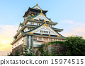 Majestic Osaka Castle at Sunset - Japan 15974515