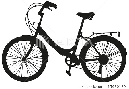 The black silhouette of a bicycle 15980129