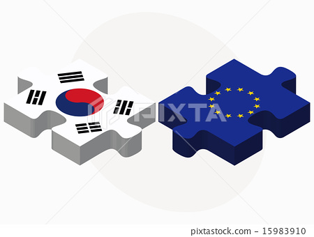 South Korea and European Union Flags in puzzle 15983910