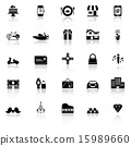 Birthday gift icons with reflect on white  15989660