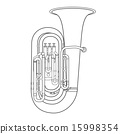 contour tuba music instrument vector illustration. 15998354