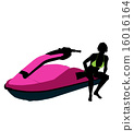 jetskier, silhouette, illustration 16016164