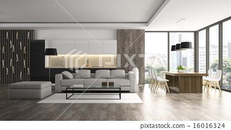 Stock Illustration: Interior of the modern design loft 3D rendering
