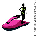 jetskier, silhouette, illustration 16016495