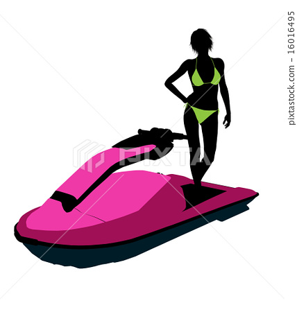 Female Jetskier Art Illustration Silhouette 16016495