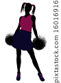Cheerleader silhouette on a white background 16016916
